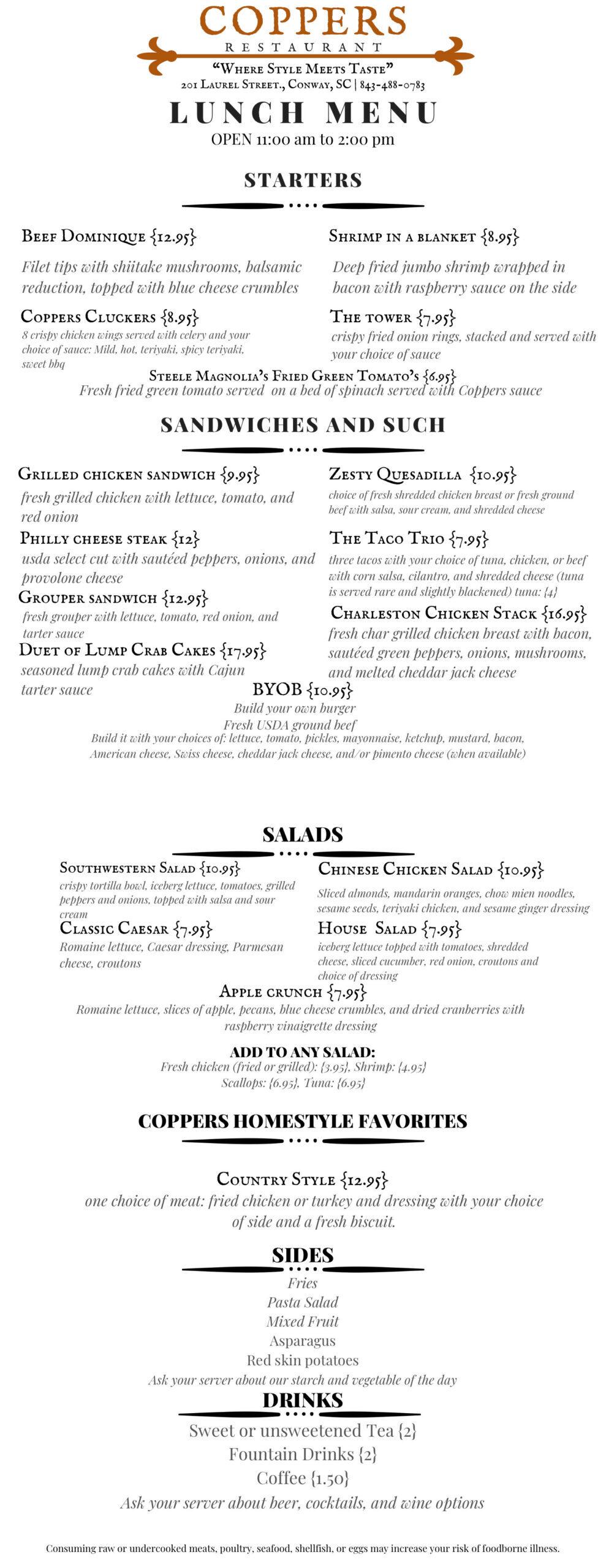 Coppers updated menu